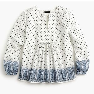 J. Crew Polka Dot Paisley Long Sleeve Cotton Top 6